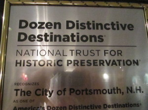 Plaque about Portsmouth, one of a Dozen Distinctive Destinations, National Trust for Historic Preservation, hangs in City Hall