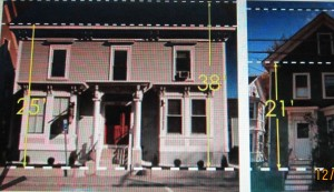 Smaller houses near 275 Islington, including (on right) the one they want to tear down to make way for the huge project