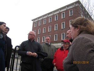 Several City Councilors toured the Federal Building parking lot Monday night.