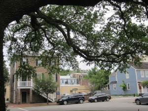 In Savannah, a series of squares with gurgling fountains framed by trees