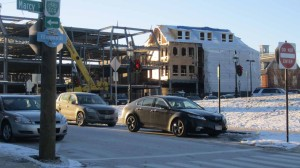 New construction on Wright Ave and Daniel Street looms over the city's older streetscapes