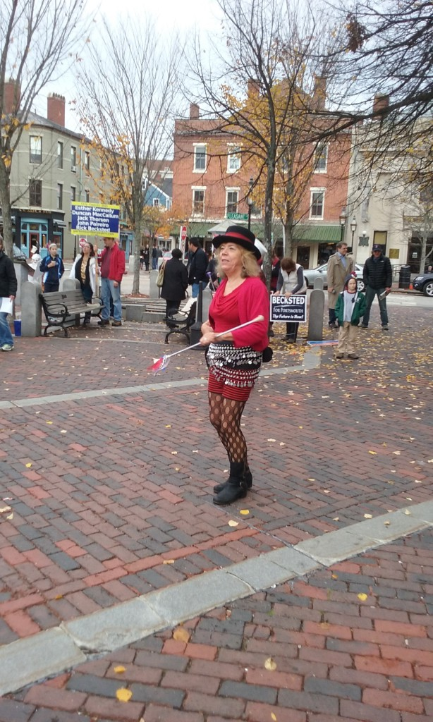 leftist marching band majorette at rally